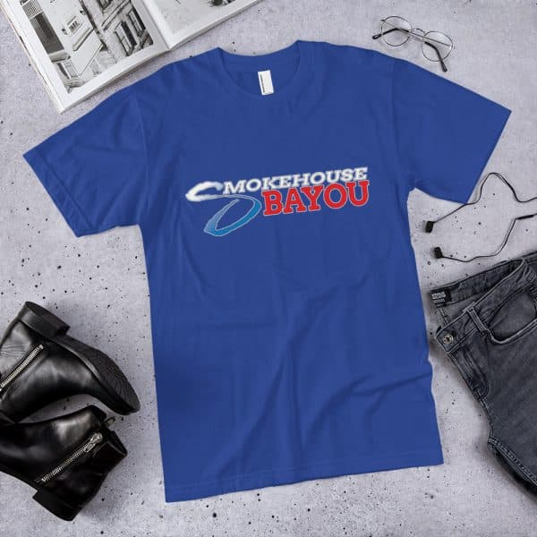 beef jerky, meat snacks, protein snacks, shirts, apparel, dark blue shirt, smokehouse swag, smokehouse gear
