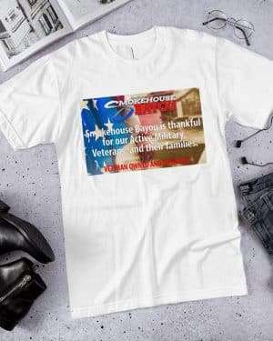 white veterans shirt, meat snacks, protein snacks, shirts, apparel, smokehouse swag, smokehouse gear
