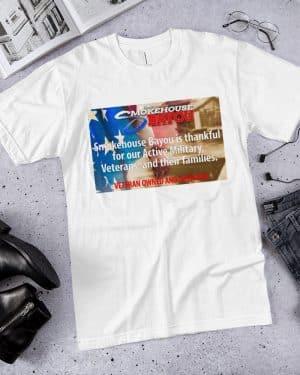 white veterans shirt, meat snacks, protein snacks, shirts, apparel, smokehouse swag, smokehouse gear